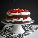 Chocolate Cake with Strawberries & Cream