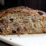 No Knead Walnut Raisin Bread
