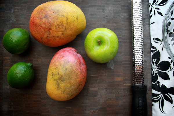 mango apple salad with sugared lime zest
