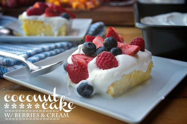 Coconut Cake with Berries & Cream