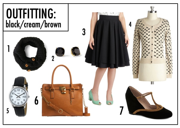 OUTFITTING: Black/Cream/Brown