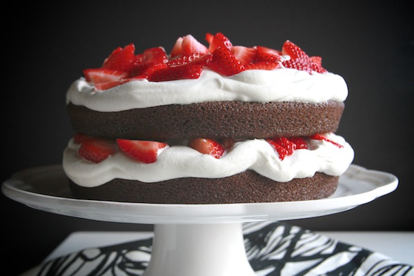 Chocolate Cake with Strawberries & Cream // shutterbean