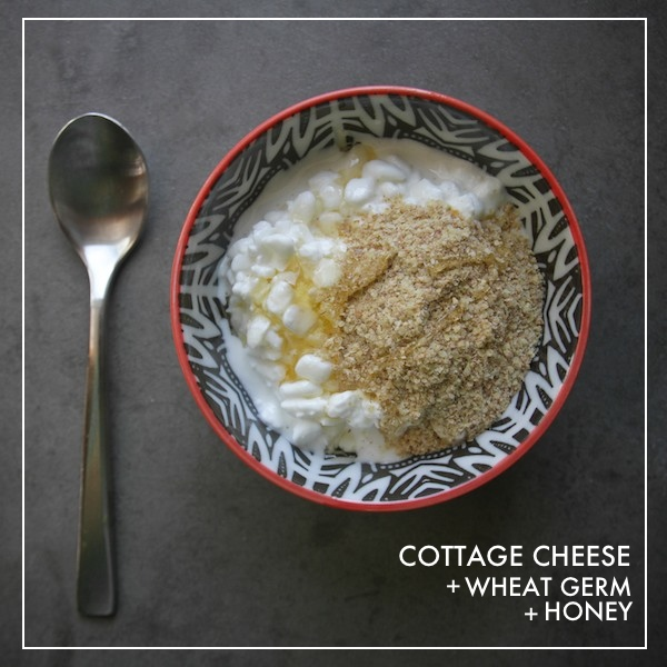 Healthy Snack: Cottage Cheese + Wheat Germ + Honey
