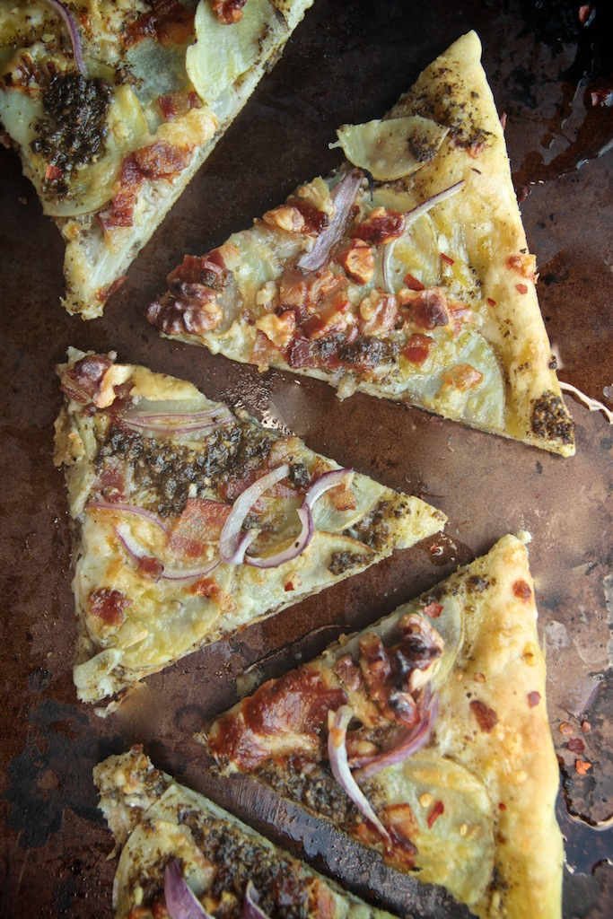 Pesto Potato Bacon Pizza