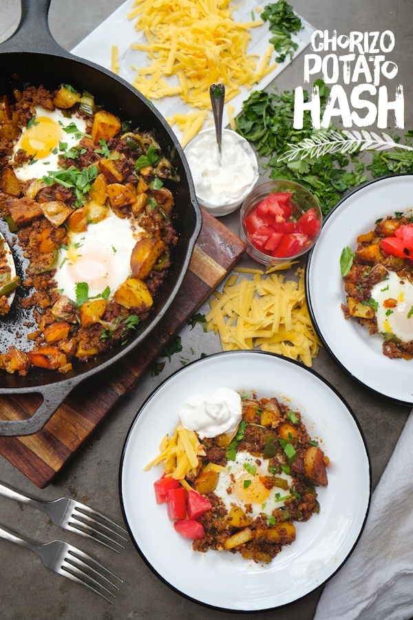 Chorizo Potato Hash makes a fabulous weekend Brunch or quick weeknight dinner. Check out the recipe on Shutterbean.com !