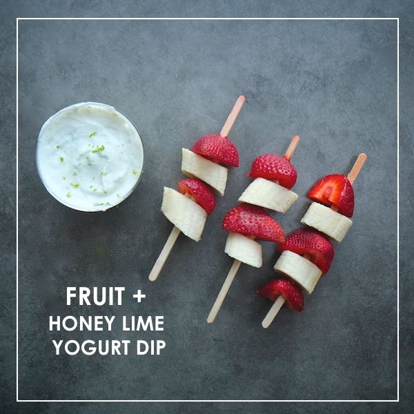 Fruit Skewers + Honey Lime Yogurt Dip // shutterbean