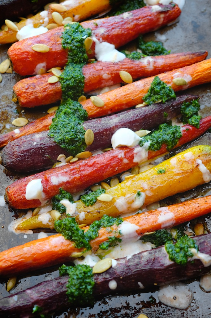 Roasted Carrots with Chile Yogurt & Cilantro Sauce || shutterbean