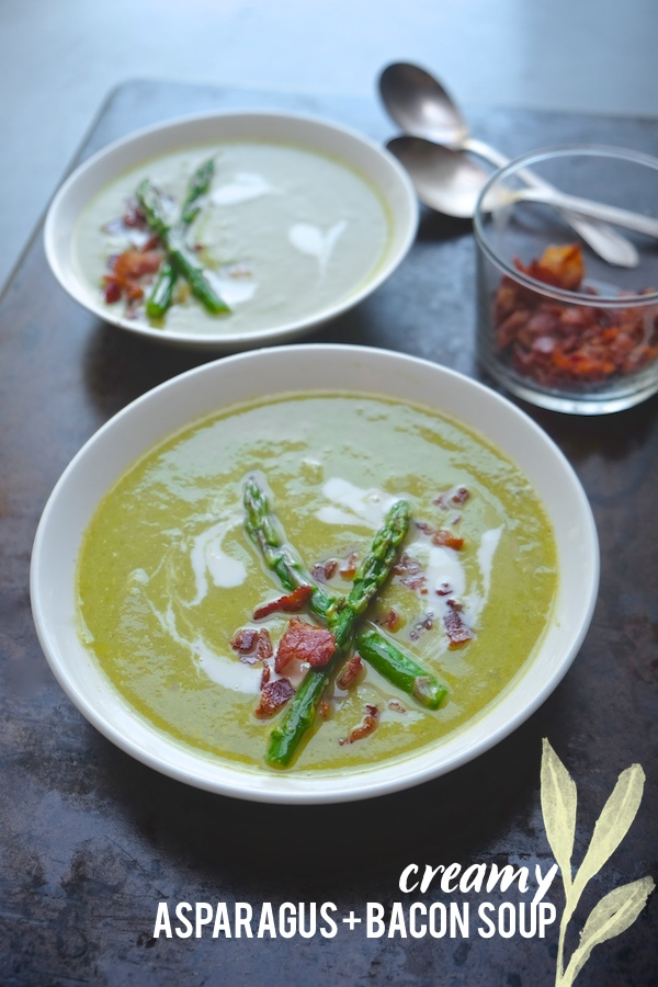 Smoky bacon and tangy creme fraiche combine forces with asparagus for this silky Creamy Asparagus & Bacon Soup. Find the recipe at Shutterbean.com!