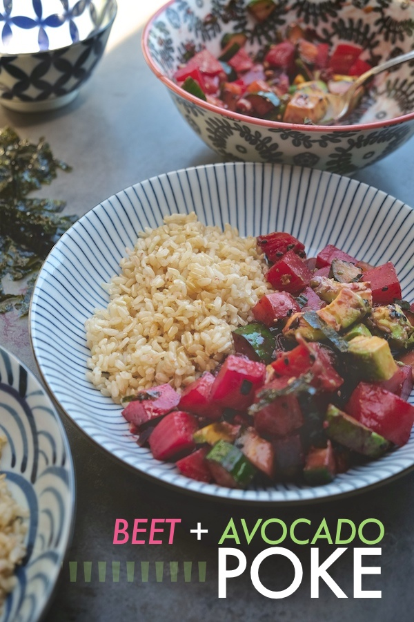 Love Ahi Poke but can't find good raw ahi? Make it with BEETS & AVOCADO instead. Find the recipe on Shutterbean.com!