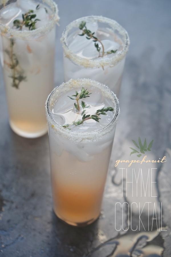 A magical combination of thyme simple syrup, fresh grapefruit and gin.  Check out this Grapefruit Thyme Cocktail on Shutterbean.com!