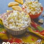 Salted Popcorn gets a tasty drizzle of creamy orange infused white chocolate in this Orange Creamsicle Popcorn. Check out the recipe on Shutterbean.com !