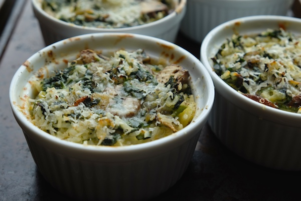 Crispy baked rice with parmesan, mushrooms and spinach. IN RAMEKINS!!!