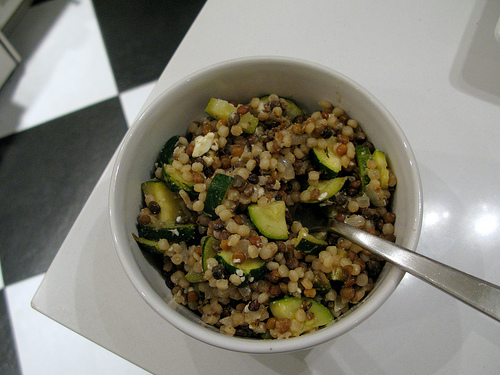 Israeli Couscous with Zucchini & Lentils
