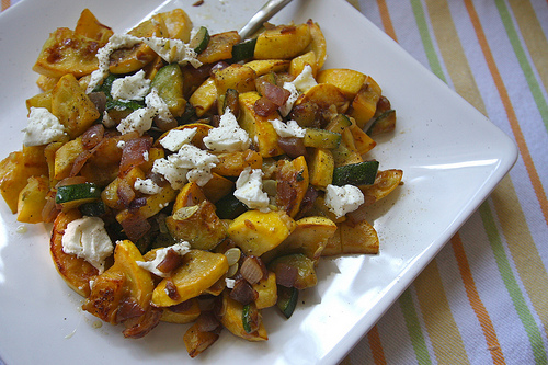 Summer Squash with Goat Cheese