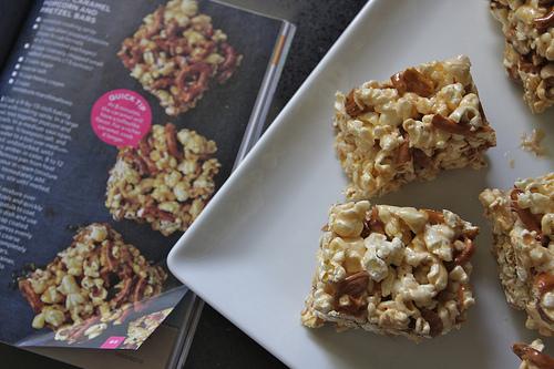 Salted Caramel Popcorn Pretzel Bars