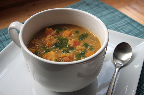 Curried Squash & Red Lentil Soup