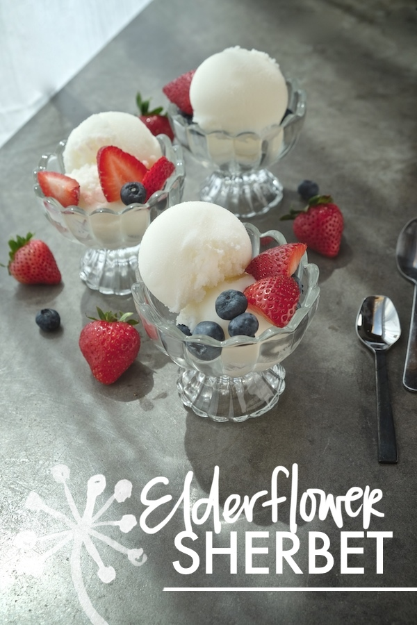 A refreshing sherbet made with St. Germaine & buttermilk. Find the recipe for Elderflower Sherbet on Shutterbean.com !