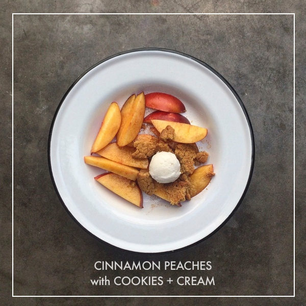 Cinnamon Peaches with Cookies + Cream // shutterbean