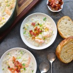 For those chilly Summer nights, make Corn & Shrimp Chowder. Pairs perfectly with grilled garlic bread. Recipe on Shutterbean.com
