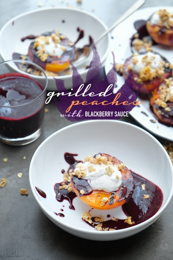 Grilled Peaches with Blackberry Sauce. Find the recipe at Shutterbean.com!