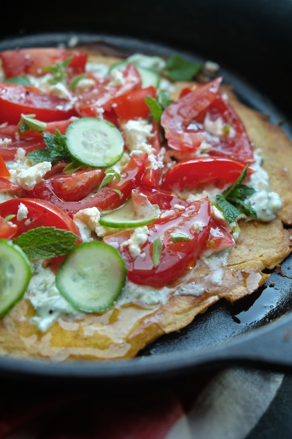 Gluten Free Greek Flatbread Pizza made with garbanzo flour! Find the recipe on Shutterbean.com