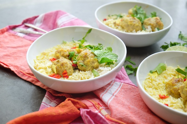 Ginger Pork Meatballs with a delicious Coconut Broth will warm up your weeknight dinners. Find the recipe at Shutterbean.com!