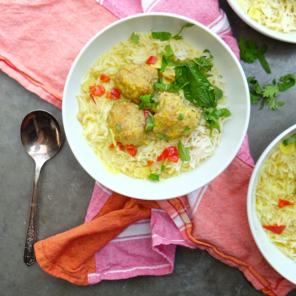 Ginger Pork Meatballs with Coconut Broth