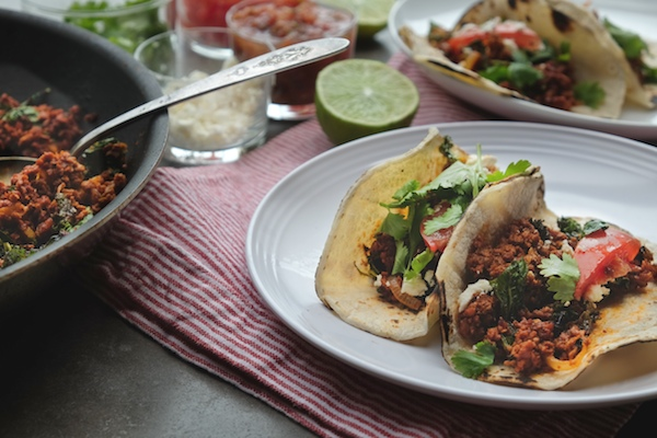 Kale Soyrizo Tacos for a quick vegetarian weeknight meal! Find the recipe on shutterbean.com