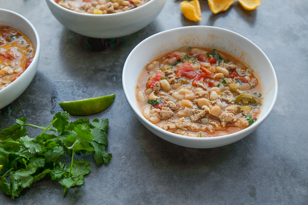 Turkey White Bean Chili for those long winter nights! Find the recipe on Shutterbean.com