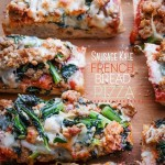 Sausage & Kale French Bread Pizzas are sure to be a crowd pleaser around the dinner table. Find the recipe at Shutterbean.com