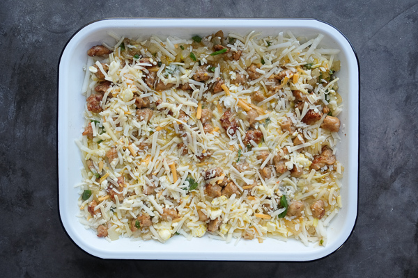 Tex Mex Breakfast Casserole is totally gluten free thanks to the hash brown base. Find the recipe on Shutterbean.com