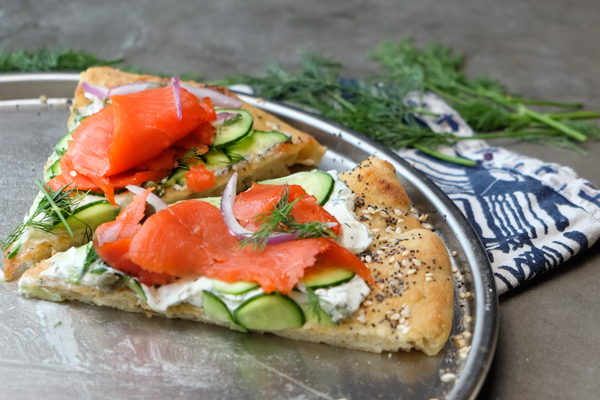 Lox Bagel Pizza- Perfect for weeknight dinners/afternoon brunches and parties! Find the recipe on Shutterbean.com!