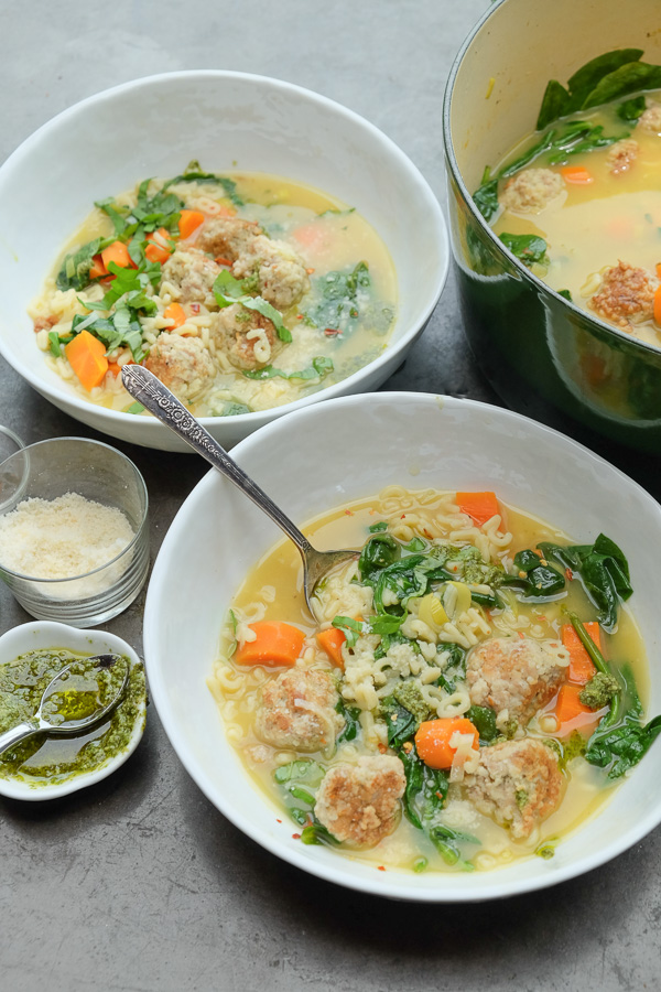 Spring Minestrone with Chicken Meatballs is a perfect soup for those ...