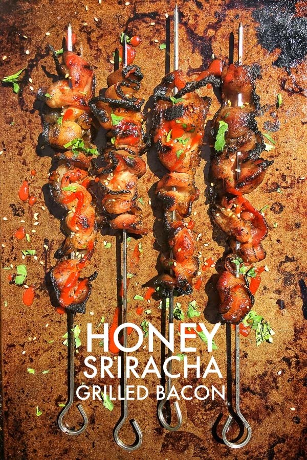 Honey Sriracha Grilled Bacon. That's right! You can grill bacon! Check out the recipe on Shutterbean.com!