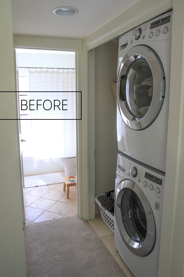 See how Tracy of Shutterbean transforms her Laundry Closet! Check it out on Shutterbean.com