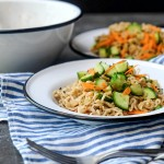 Cold Sesame Noodles are incredible versatile. Pair them with your favorite protein. Find the recipe on Shutterbean.com