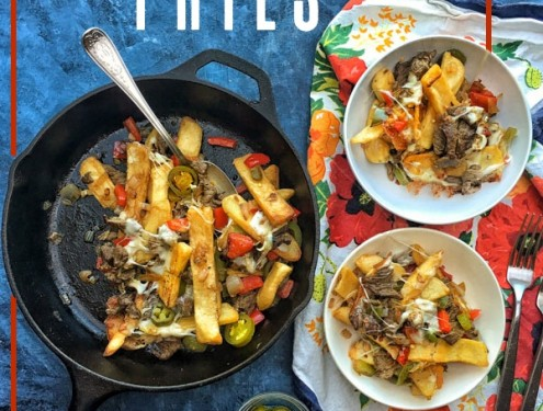 Ditch the bread in Philly Cheesesteak and use FRIES! Find the recipe for these Philly Cheesesteak Fries on Shutterbean.com!