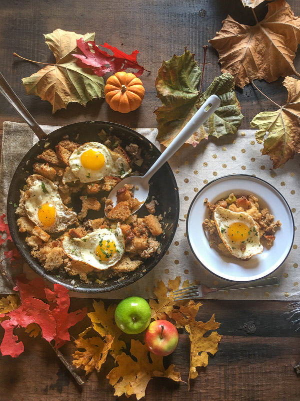 Bring your favorite Thanksgiving flavors into breakfast with this Bread Sausage Apple Hash. Find the recipe on Shutterbean.com