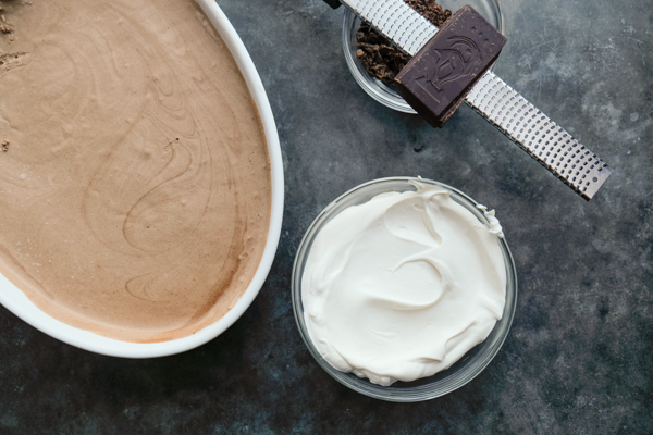 Frozen Mocha Mousse is an AMAZING frozen treat. No ice cream maker needed! Find the recipe on Shutterbean.com