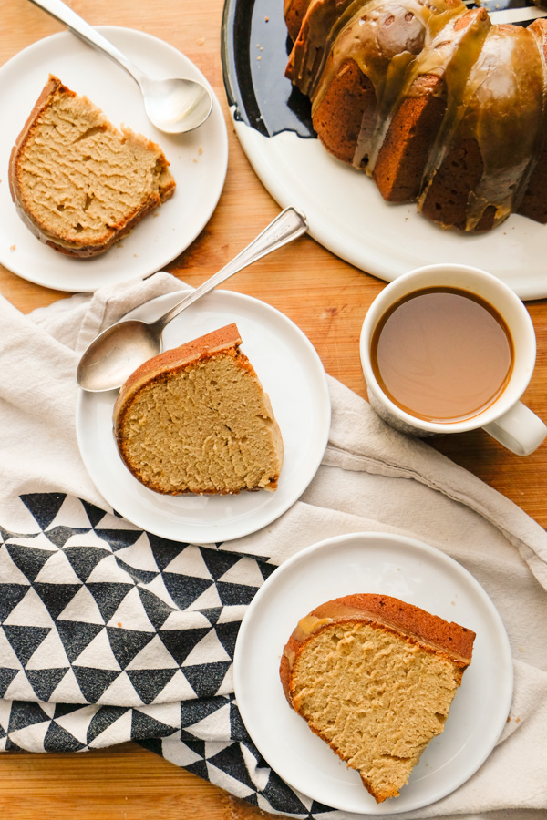 Spiced Brown Sugar Pound Cake with Rum Molasses Glaze is the perfect way to build community! Find the recipe on Shutterbean.com