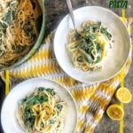 Creamy Goat Cheese and Spinach Pasta is a snap to put together on a weeknight. The sauce is made creamy with goat cheese and pasta water. Recipe on Shutterbean.com!