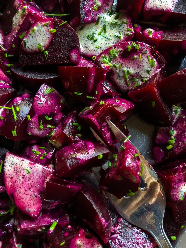 Beet Salad with Poppy Seed and Chive Dressing is a great addition to your Fall & Winter menu! Recipe on Shutterbean.com