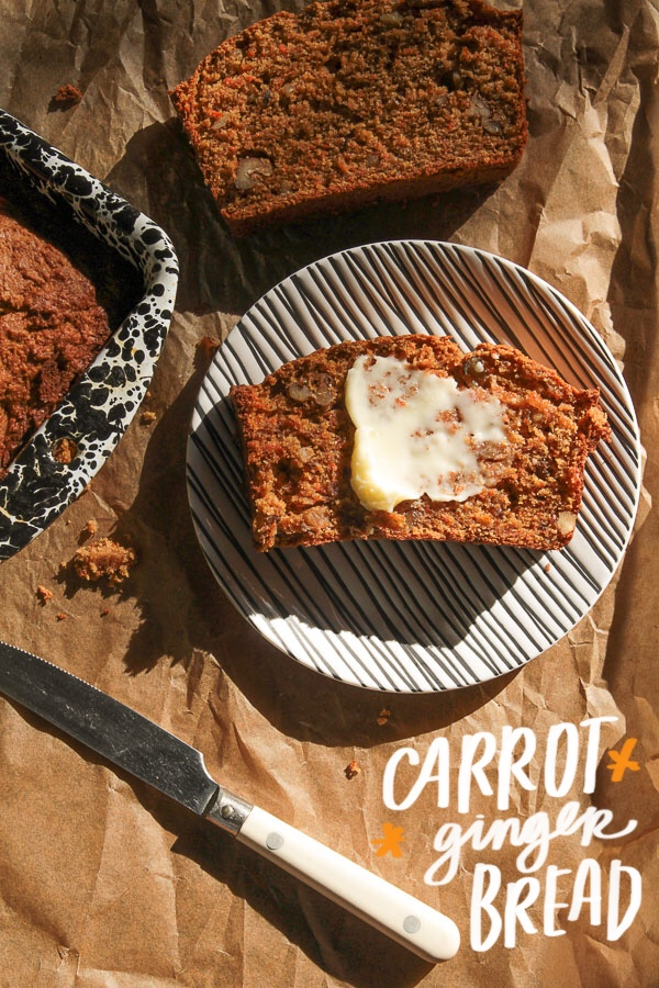 Carrot Ginger Bread is a great way to use leftover carrots. Find the recipe on Shutterbean.com