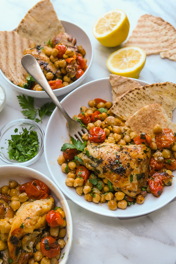 Spicy Chicken with Chickpeas is an easy dinner to pull together on a weeknight. Find this healthy recipe on Shutterbean.com