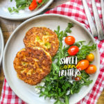 Sweet Corn Fritters with a salad makes for a healthy summer meal! Find the simple recipe on Shutterbean.com!