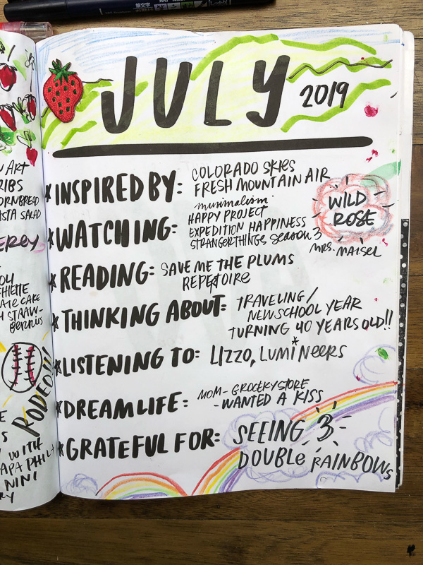 Currently July 2019 in the Currently Workbook by Tracy Benjamin of Shutterbean.com