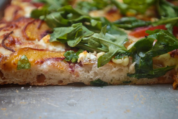Peach Arugula Corn Pizza
