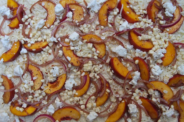 Peach Arugula Corn Pizza // shutterbean