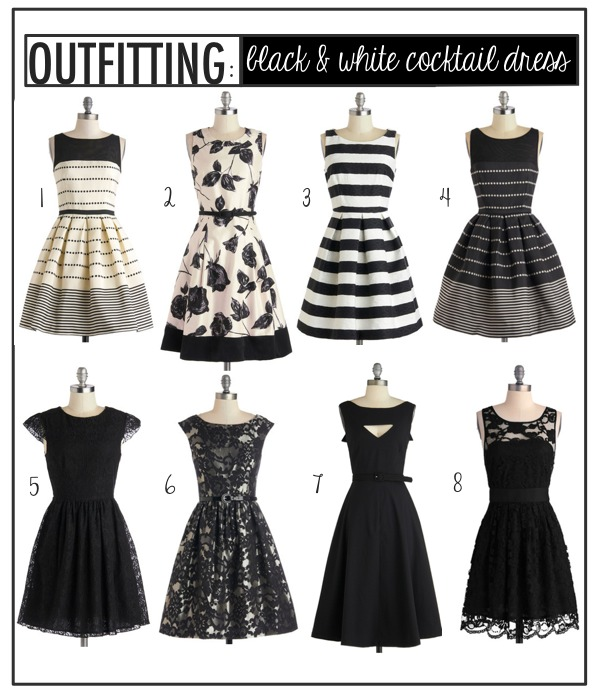 Outfitting: Black & White Cocktail Dresses