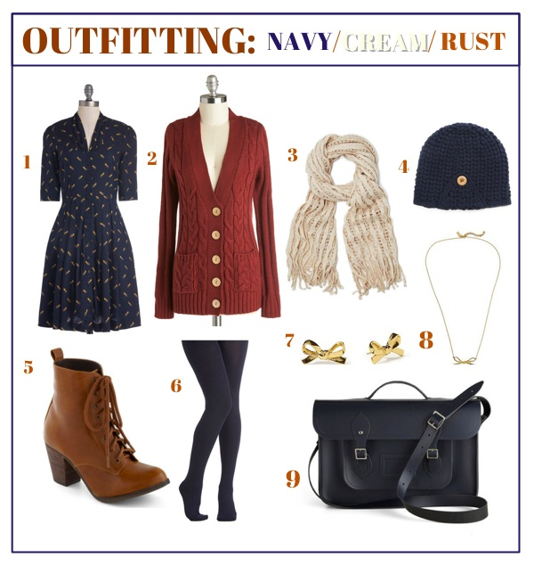 Outfitting: Navy Cream & Rust